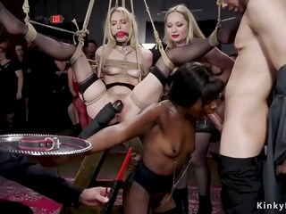 Blonde and ebony serving at bdsm party iceporn amateur bdsm big cock