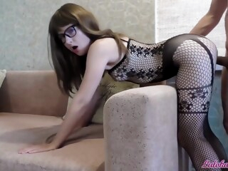Babe in Glasses Blowjob Big Cock and Rough Doggy Fuck - Cum on Face iceporn amateur big ass big cock